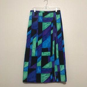 Joan Leslie Petite Geometric Faux Wrap Maxi Skirt